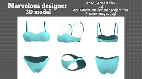 lingerie range - Marvelous designer 3D model