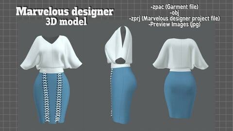 LooseTop TrapSkirt Set - Marvelous Designer 3D model