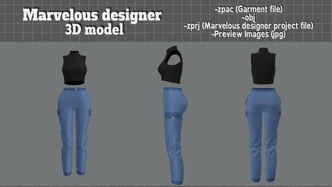 Sleeveless tank top and long pants - Marvelous Designer 3D model