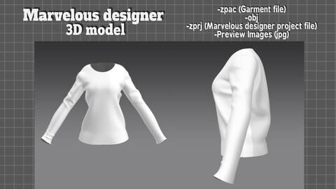 Basic shirt clothes top women cloth - Marvelous designer 3D model