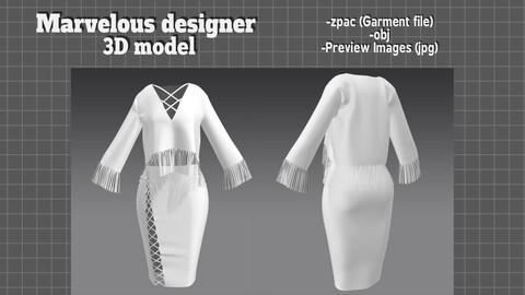 Tassle Top and Skirt Vintage cloth set - Marvelous designer 3D model