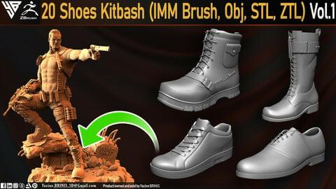 20 Shoes Kitbash (IMM Brush, Obj, STL, ZTL) Vol 01