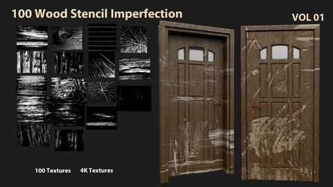 100 Wood Stencil Imperfection-VOL 01