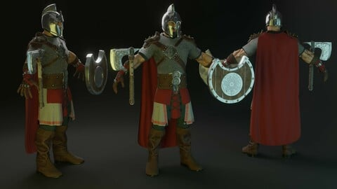Warrior character 3d model low poly