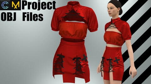 Latex nurse costume (MD/Clo3D Project+OBJ)