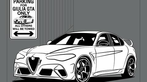 DIGITAL FILE VECTOR / Sign Parking GIULIA GTA Only