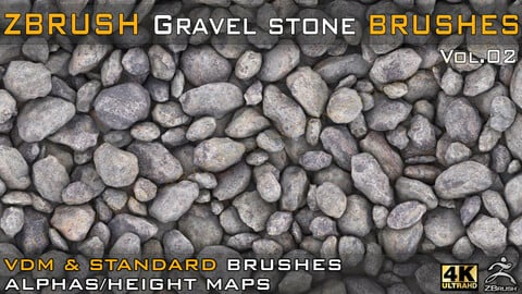 55 VDM + STANDARD BRUSH GRAVEL STONE BRUSHES +55 ALPHA/HEIGHT MAPS HIGH QUALITY (4K) -VOL.02