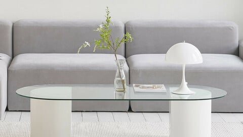 Rihanna sofa table tempered glass oval round sofa living room tea table