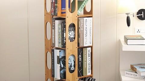4 tiers of revolving wooden bookshelf