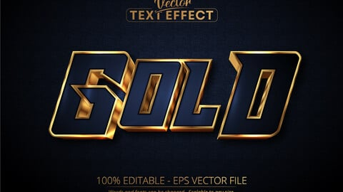 Gold text, luxury gold editable text effect on dark blue textured background