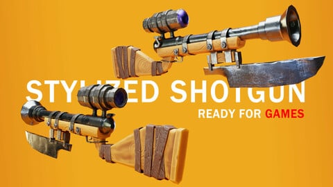 Stylized shotgun (lowpoly)