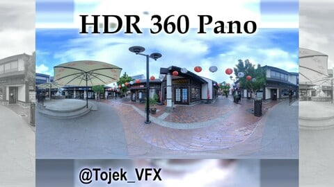 HDR 360 Panorama Little Tokyo 31 Village mall - Downtown LA - cloudy morning