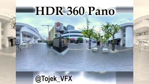HDR 360 Panorama Little Tokyo - Weller Court 86 - Space Shuttle Challenger Memorial