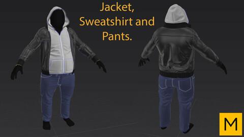 Jacket, sweatshirt and pants