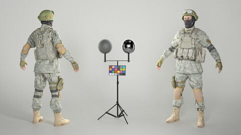 Fully equipped American soldier in A-pose 317