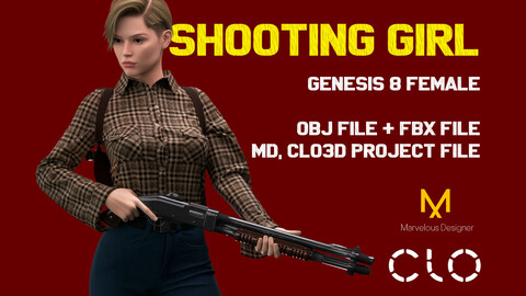 """Casual Female outfit """"Shooting girl"""", Genesis 8 Female Avatar. MD, Clo3d Project file, OBJ and FBX files."""