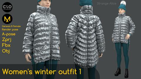 Women's winter outfit 1. Clo3d, Marvelous Designer projects.