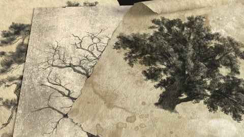 36 Forest Brushes and 3d model with drawings as demonstration
