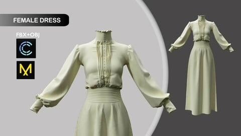 Dress Vintage Style Marvelous Designer/Clo3d project + OBJ + FBX