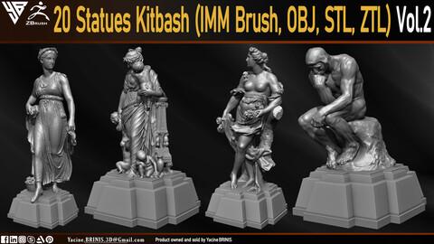 20 Statues Kitbash  (IMM Brush, Obj, STL, ZTL) Vol 02