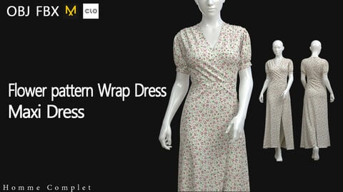 Women's Flower pattern Wrap Dress