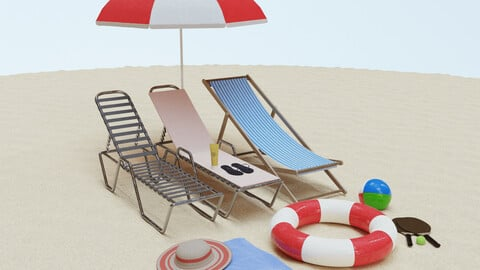Beach Collection - Flip-Flops Deck Chair Rackets Life Buoy Towel 3D model