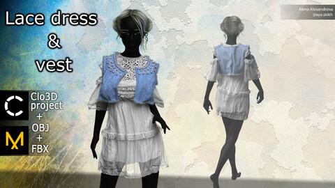 Lace dress and denim vest. Clo3D project, Marvelous Designer.