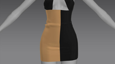 Two Tone Mini Dress OBJ + ZPRJ
