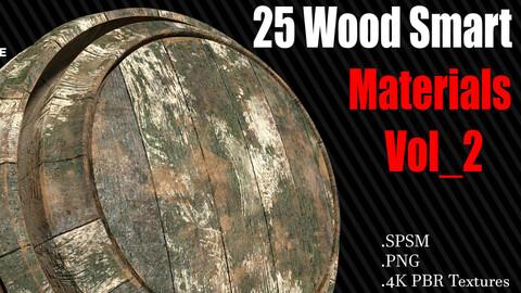 25 Wood Smart Materials + 4K PBR Textures Vol 2