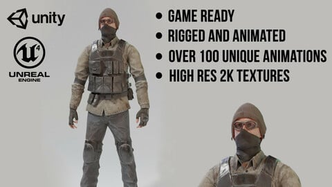 Game Ready Apocalypse Male Character Rigged and Animated