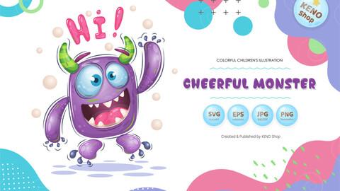 Cheerful cartoon monster