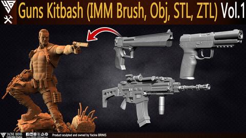Guns Kitbash (IMM Brush, Obj, STL, ZTL) Vol 01