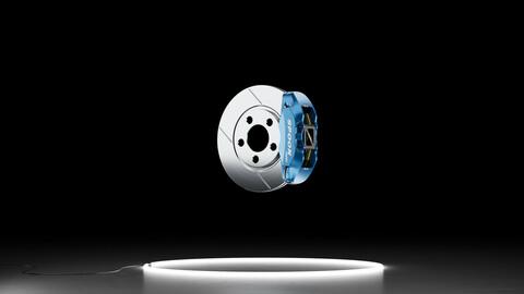 Spoon Sports Monocoque Caliper Linear Slot brake rotor kit 3D model
