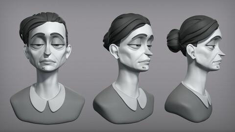 Cartoon female character Gloria base mesh