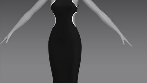 White Trim Cutout Dress OBJ+ZPRJ