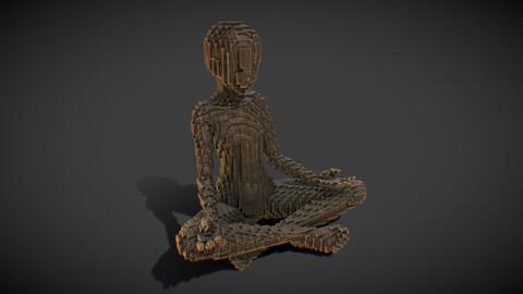 Budha Girl - Voxel wood Statue