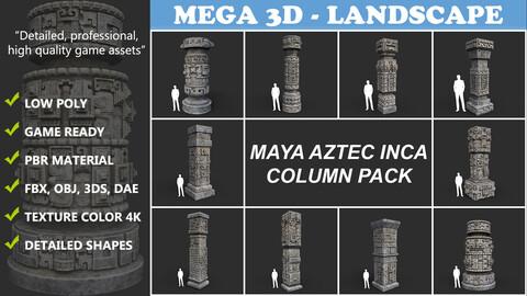 Low poly Mayan Inca Aztec Column Modular Pack 210616