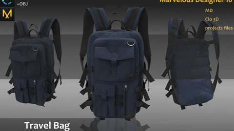Bags_For Geman/Soviet Union Solider_Military bags_Large volume for travel bag_Marvelous Designer_Clo 3D project + obj