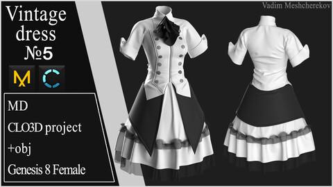 Vintage Dress №5. Clo 3D / Marvelous Designer project +obj