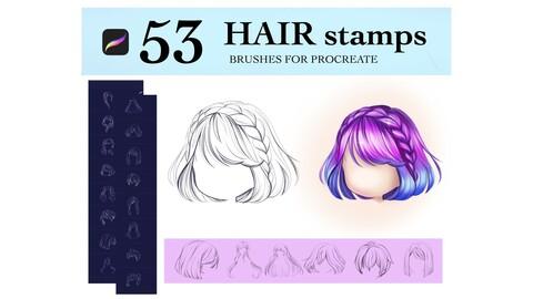 💕53 Hair Stamps Procreate Brushes, Chibi Hair Brushes, Straight Hair Brushes, Hairstyles Brushes Stamp