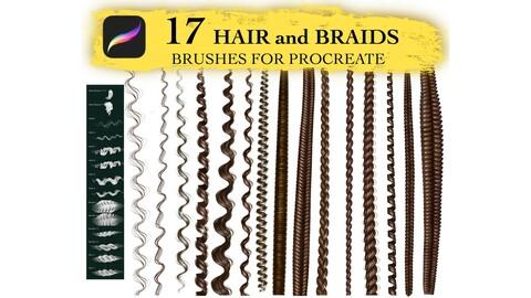 Procreate Braids and Waves Hair Brushes, Braids Brushes, Hair Brush Set, Digital Procreate Brushes, Guide Brushes, Art Tool, Portrait Brush