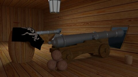 Cannon on a pirate ship