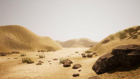 Simple Mars-like landscape terrain view