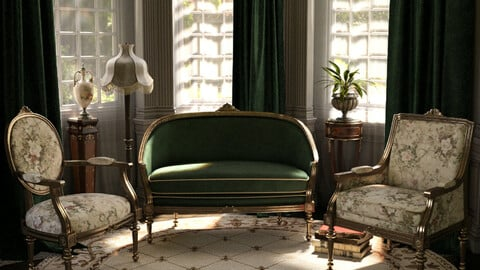 Reupholstered for Vintage Furniture Iray