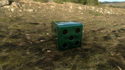 Dice d6 low poly game ready PBR
