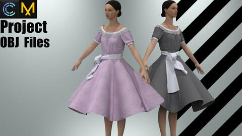 Vintage Classic Lolita OP Dress (MD/Clo3D Project+OBJ Files)