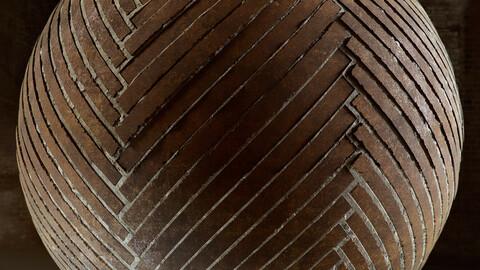 PBR - HERRINGBONE WOOD FLOOR, CEMENT JOINTS - 4K MATERIAL