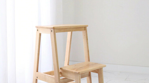Solid wood 2-tier folding step stool