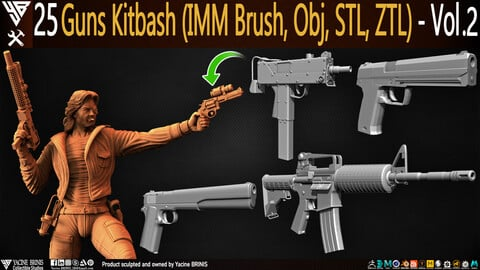25 Guns Kitbash (IMM Brush, Obj, ZTL) Vol 02