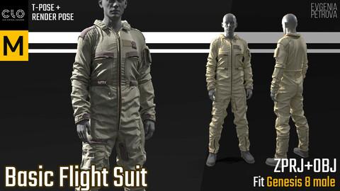 Basic Flight Suit. MD, Clo3d project + OBJ + render project
